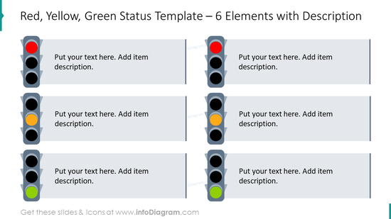 Traffic lights status example for six elements with description boxes