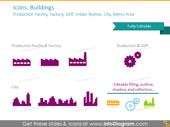 Example of the buildings icons set