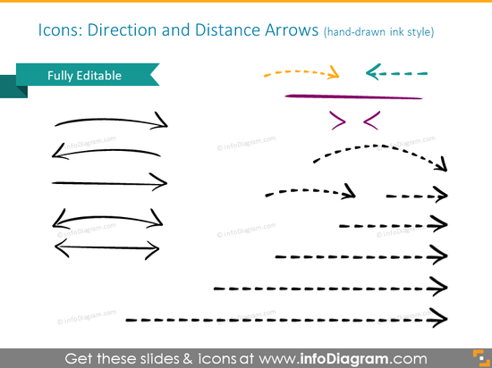 Direction and distance arrows illustrated with handdrawn and ink style