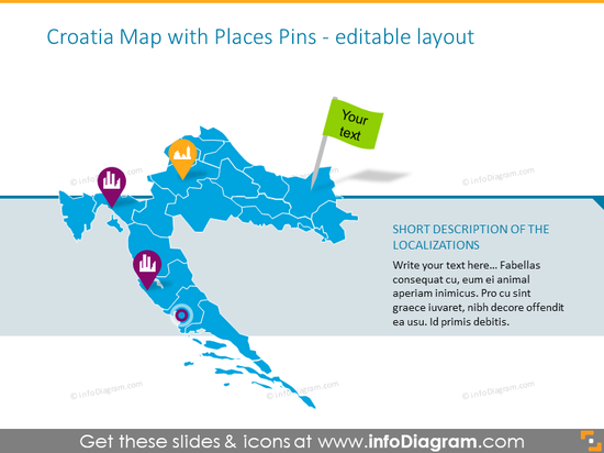 Croatia Map with Places Pins