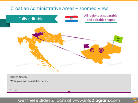 Croatian Administrative Areas zoomed map