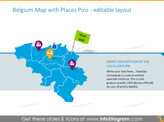 Belgium map with places pins