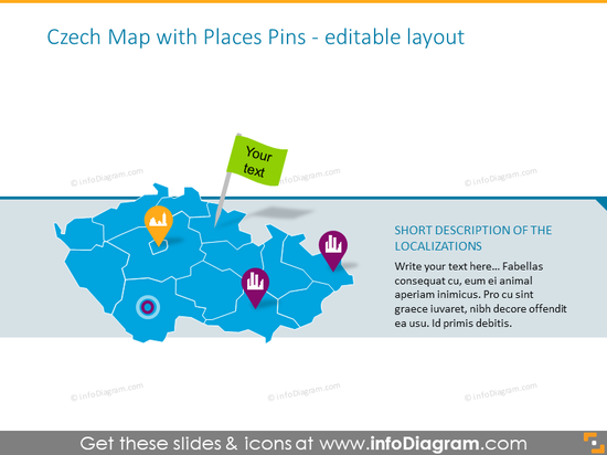 Czech colorful map with places pins