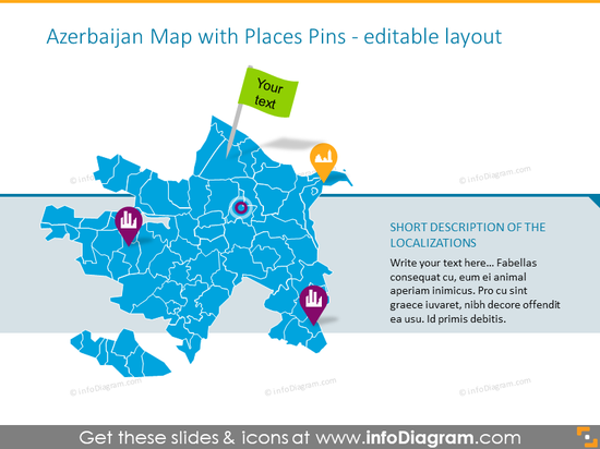 Azerbaijan Map with Places Pins
