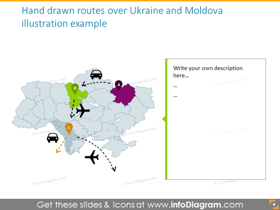 Hand drawn routes over Ukraine and Moldova illustration example​
