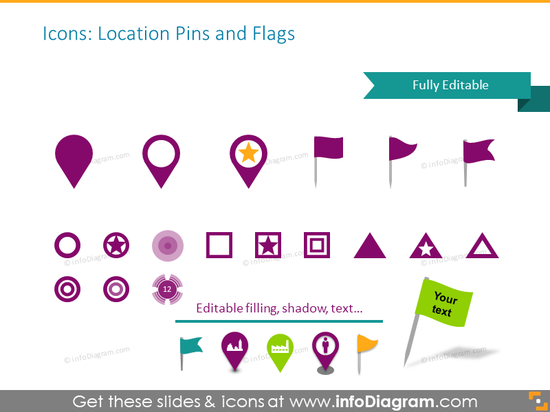 Location pins and flags symbols
