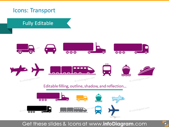 Transport Symbols: car, truck, train, plane, ship