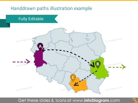 Example of the Poland map illustrated with handdrawn paths