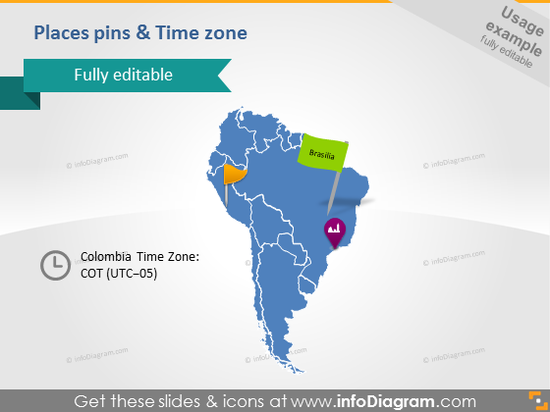 PowerPoint Slide Time zone Icon Colombia Map South America