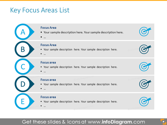Professional business powerpoint template - focus areas for discussing