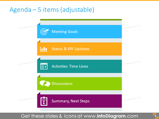 Five items agenda illustrated with colored bullet points