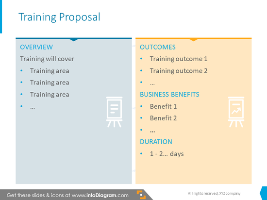 Training proposal  slide illustrated with two colorful columns