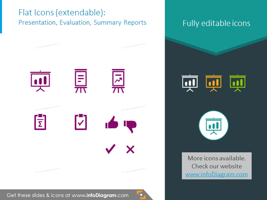 Icons set intended to showpresentation, evaluation, summary reports