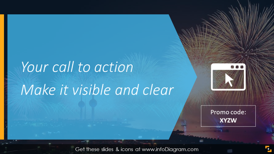 Call-to-action slide with catchy background