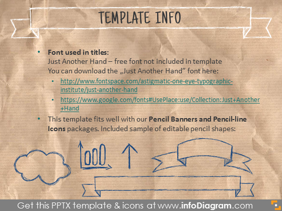 PPT template info script fonts and pencil icons used