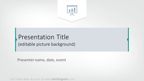 Example of presentation title slide with simple background
