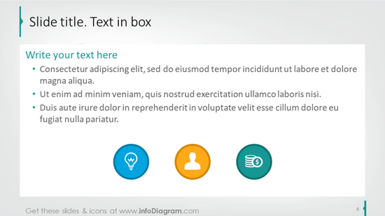 Text box template illustrated with icons