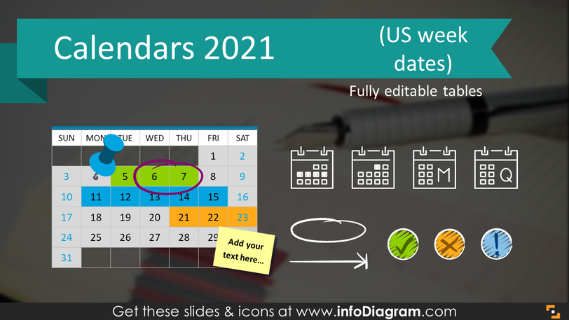 Calendars 2021 timelines graphics US format (PPT tables and icons)