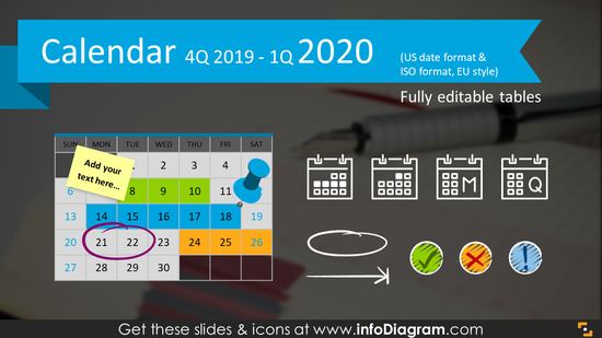 Quarterly Calendars 4Q 2019 + 1Q 2020 (PPT tables and icons)