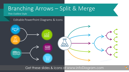 Branching Thin Arrows for Process Flow Split or Merge (PPT Diagrams)