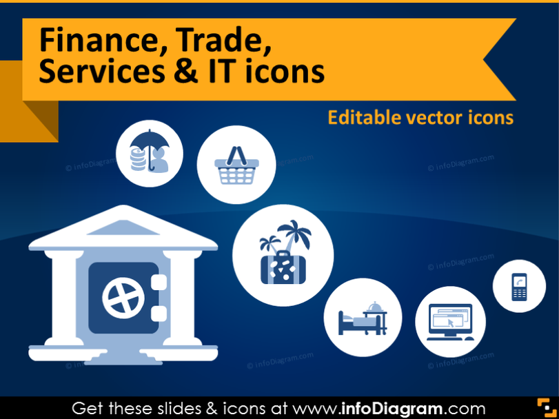 Industry icons: Finance, Money, Trade, Services, IT (flat PPT clipart)