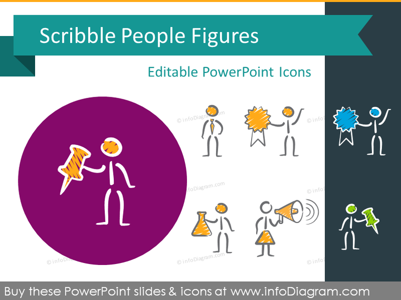 Scribble People Figures (PPT icons & clipart)