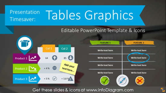 Presentation Timesaver: Tables Graphics (PPT template & icons)