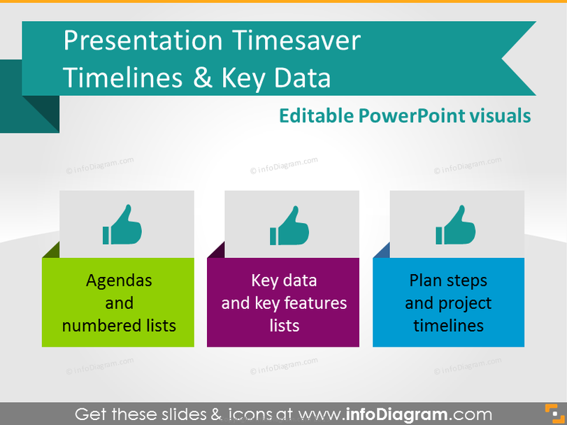 Presentation Timesaver - Timelines, Key Data (PPT diagrams)