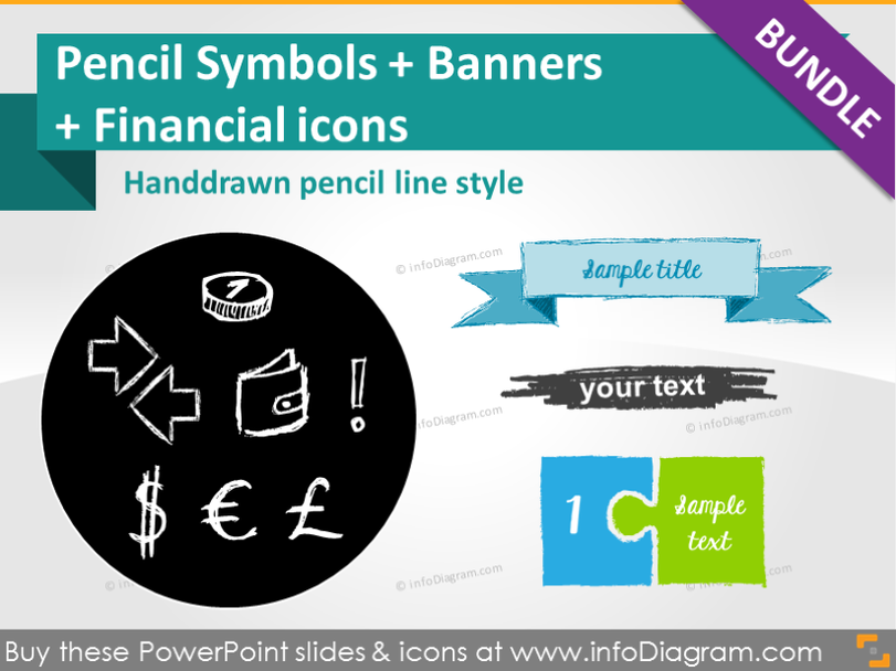 Pencil Sketch Symbols BUNDLE: sales +finance +shapes (PPT icons)