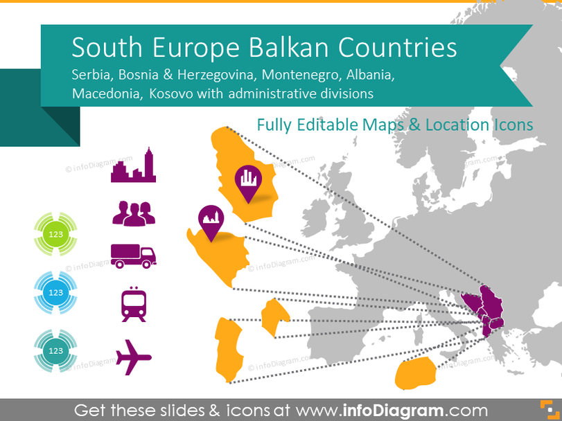 Balkan Europe Maps with Administrative Regions (Serbia, BiH, Montenegro… PPT editable)