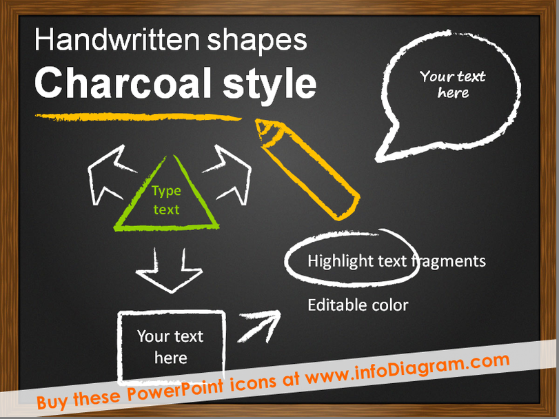 Handwritten Shapes - Charcoal style (PPT icons & clipart)