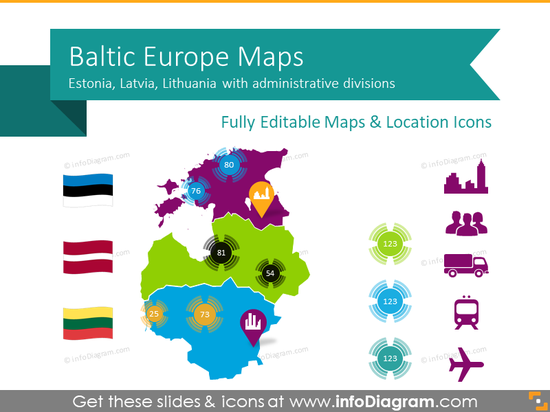 Baltic States Europe Maps with Administrative Territories (PPT editable)