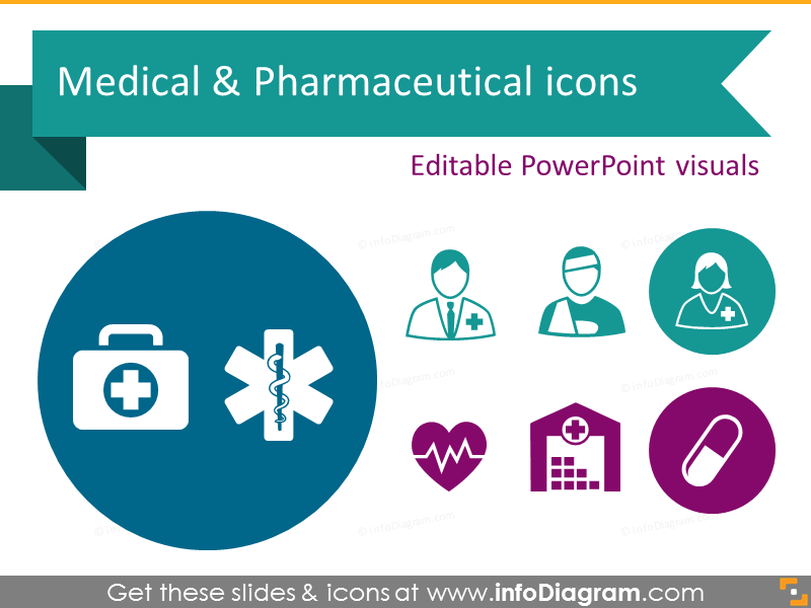 Health Care Medical and Pharmaceuticals Icons (PowerPoint clipart)