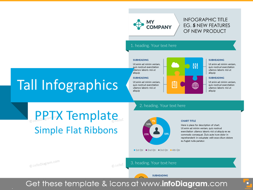 Tall Infographics Presentation Template (flat PPT graphics)