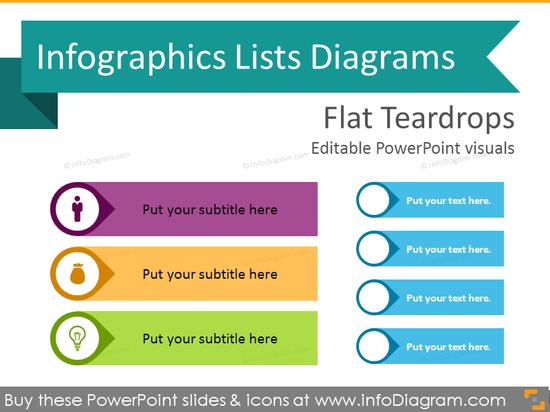 Infographics Teardrops Lists Template (flat PPT Diagrams)