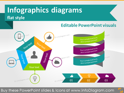 Infographics diagrams and symbols - flat PPT clipart