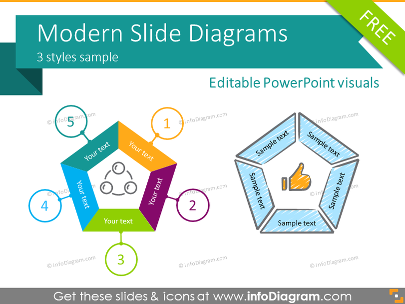Free Modern Diagrams (PPT infographics template)