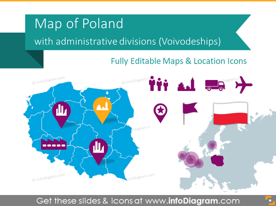 Poland Maps with Regions - Voivodeships Divisions (PPT Template)
