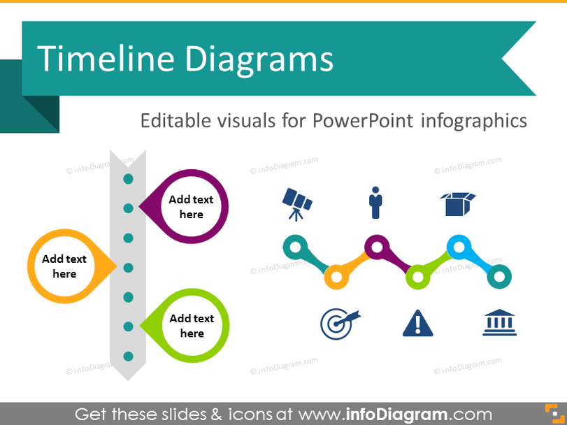 Timeline Diagram Infographics (flat PPT template)