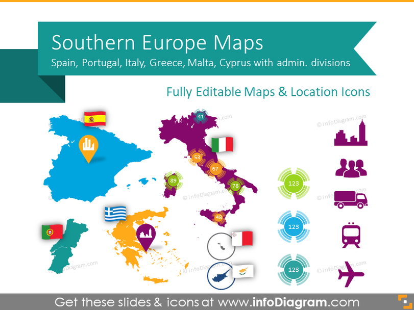 Southern Europe Maps with Administrative Territories (Spain, Italy PPT editable Maps)