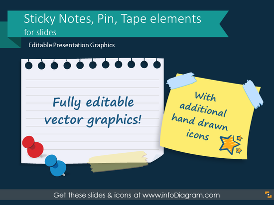 Sticky Notes, Pin, Tape elements for slides (PPT pictures)