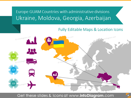 Ukraine, Georgia, GUAM Countries Maps with Administrative Regions (PPT editable)