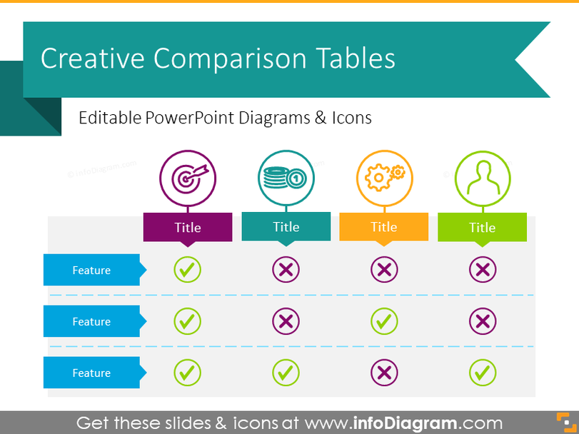 Creative Comparison Tables Template (PPT graphics)