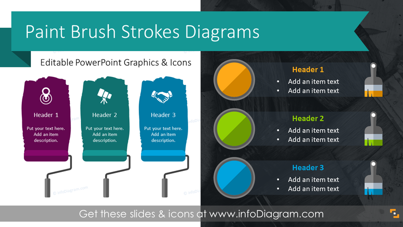 Flat Paint Brush Strokes Diagrams (PPT Template)