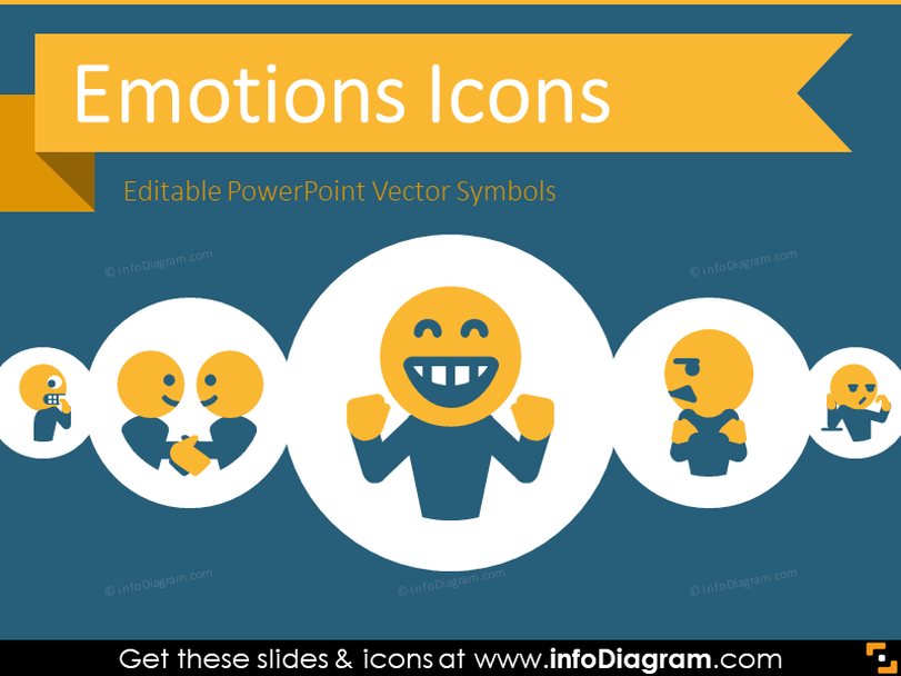 Emotions and Feelings Icons (flat PPT clipart)