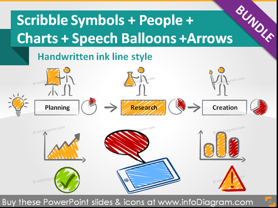 Scribble Symbols BUNDLE: people, charts, symbols, balloons (PPT icons & clipart)