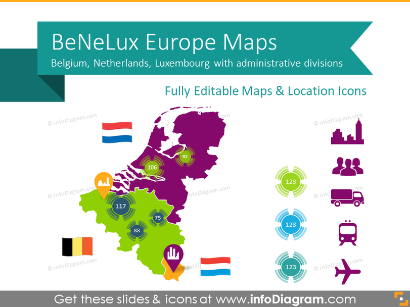 Benelux Europe Maps with Administrative Territories (PPT editable)