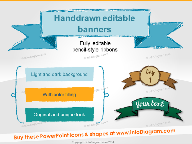 Sketch Banners Pencil Ribbon Infographics Titles (PPT shapes)