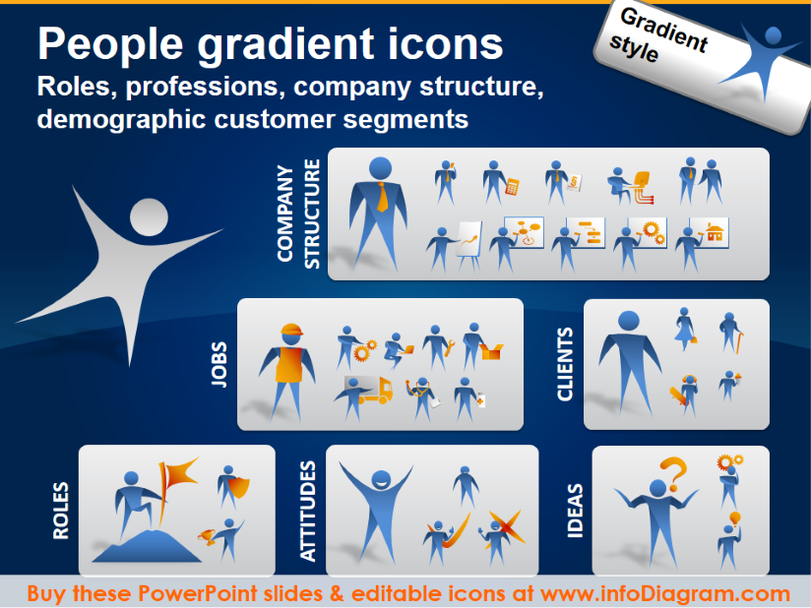 People jobs, company roles, customer segments (PPT icons clipart)