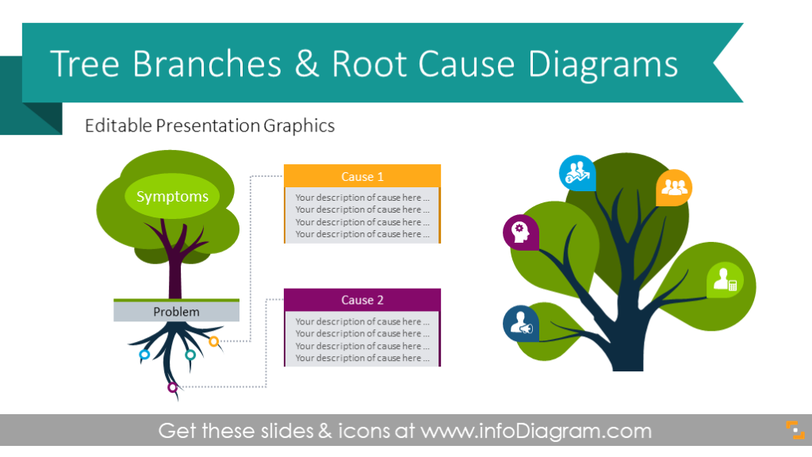 Tree Branch Diagram Root Cause Template (PPT graphics)